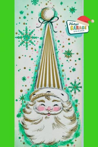 Vintage Christmas at Vintage Garage Chicago. Green Mid Century Modern Christmas Card Santa