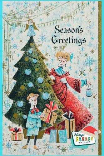 Seasons Greetings Mid Century Modern Christmas Card decorating the tree little boy with gifts.