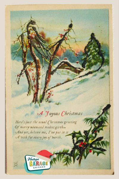 Vintage Christmas at Vintage Garage Chicago. Vintage holiday postcard- A joyous Christmas winter scene vintage postcard