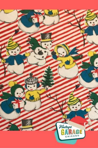 Vintage gift wrap, snowman snowmen outside with trees 1960s