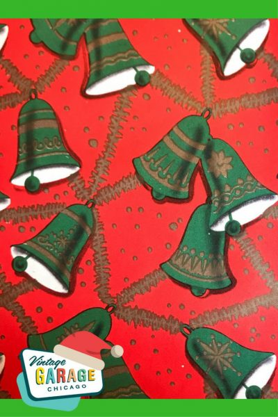 Vintage Christmas gift wrapping paper with Bells red and green 1960s