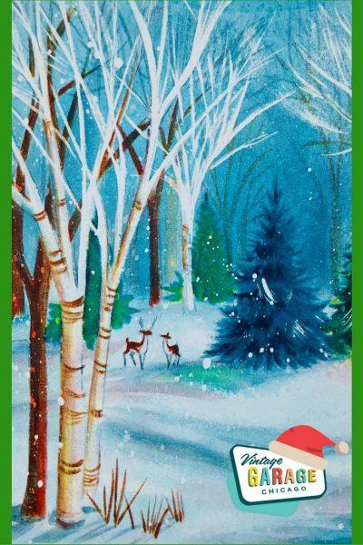 D pin- Christmas card deer snow scene 1960s vintage greeting card