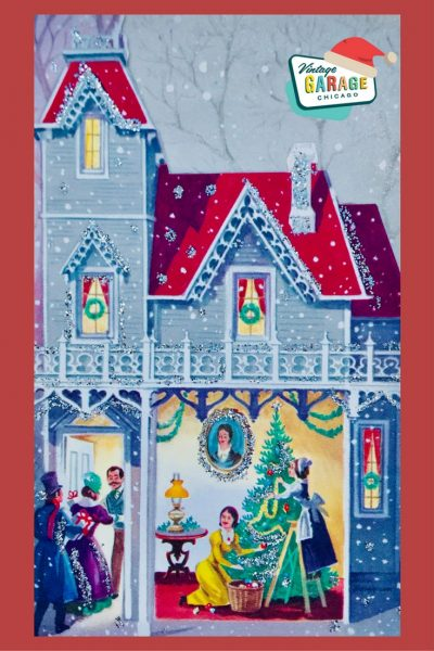 D pin- Vintage Christmas Card decorating the tree. Merry Christmas from Vintage Garage Chicago