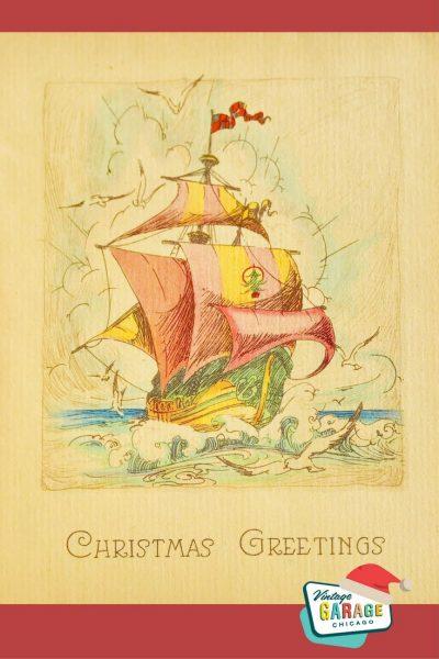 Vintage Christmas at Vintage Garage Chicago. Vintage Christmas card pink ship 1930s.