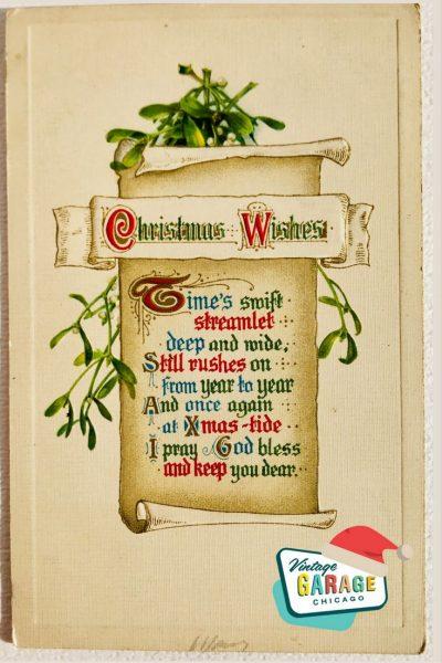Vintage Christmas at Vintage Garage Chicago. Holiday postcard - Christmas wishes poem vintage postcard