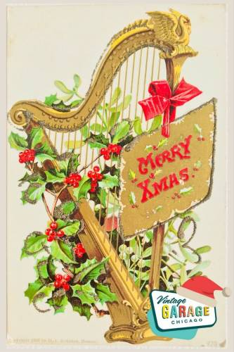 Vintage Christmas at Vintage Garage Chicago. Holiday postcard- Merry Christmas harp and holly vintage postcard