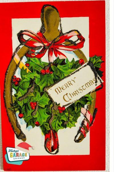 Vintage Christmas at Vintage Garage Chicago. Wishbone Christmas postcard - Merry Christmas wishbone holly vintage postcard