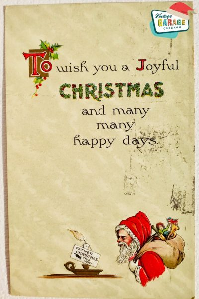 Vintage Christmas at Vintage Garage Chicago. postcard Santa- to wish you a joyful Christmas and many happy days postcard santa with a sack of toys and candle
