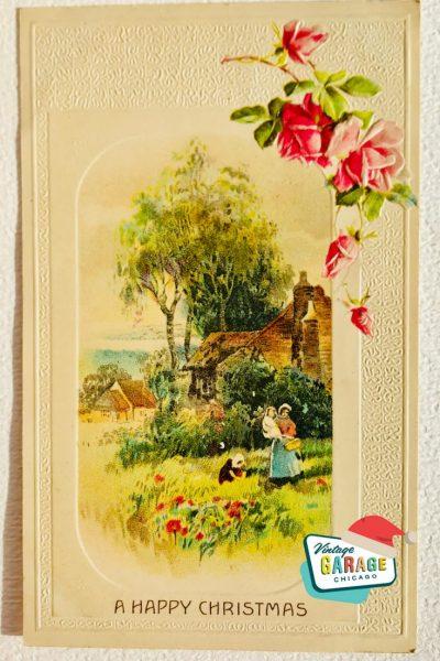 Vintage Christmas at Vintage Garage Chicago. Holiday postcard - a Happy Christmas postcard spring roses