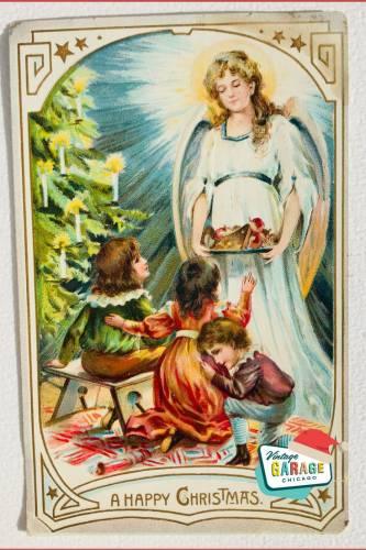 Vintage Christmas at Vintage Garage Chicago. Holiday postcard- a happy christmas angels and children vintage postcard