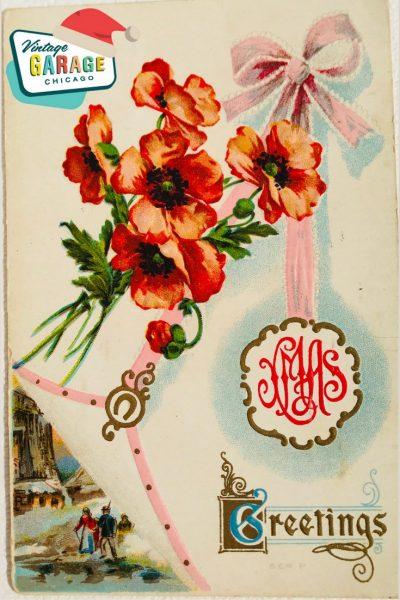 Vintage Christmas at Vintage Garage Chicago. Holiday postcard - poppy Christmas vintage postcard