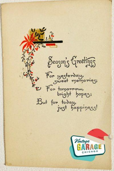 Vintage Christmas at Vintage Garage Chicago. pin postcard- seasons greetings great font vintage postcard
