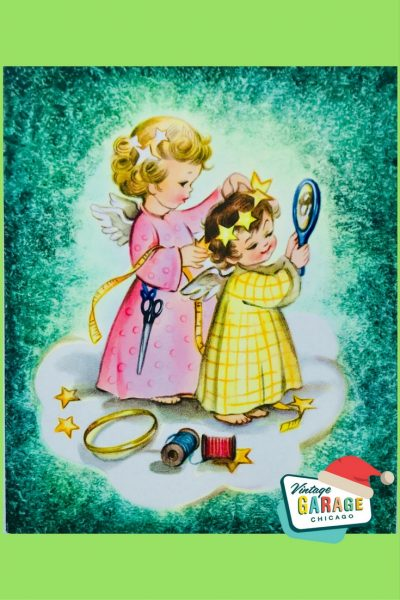 Vintage Christmas at Vintage Garage Chicago. - Little girls VINTAGE CHRISTMAS CARD getting ready for Christmas pageant 1960S