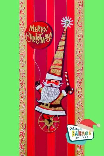 Vintage Christmas at Vintage Garage Chicago. Red Mid Century Modern Christmas Card Santa green background