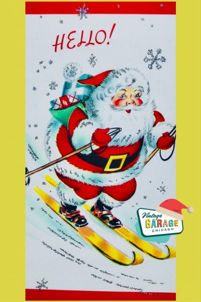 PIN- SANTA SKIING SKI Christmas Card decorating VINTAGE CHRISTMAS 1960's with vintage snow flakes!
