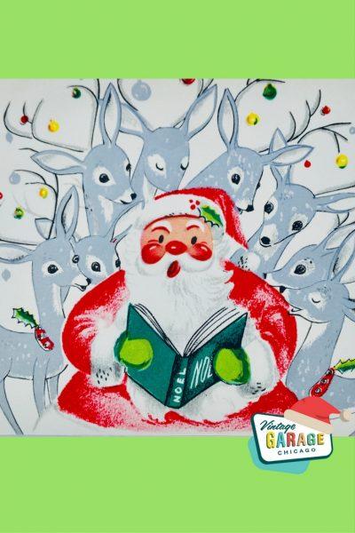 PIN- VINTAGE CHRISTMAS CARD SANTA SILVER REINDEER ORNAMENTS 1960's Midcentury Modern Christmas greeting card.