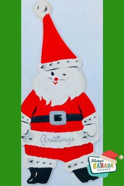 Vintage Christmas at Vintage Garage Chicago. VINTAGE CHRISTMAS CARD folding accordian Santa 1970's greeting card.