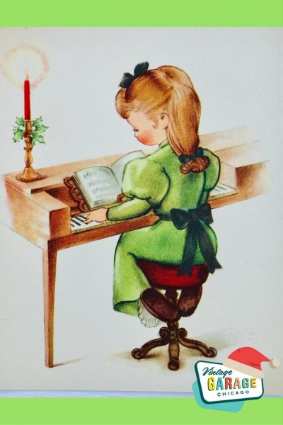 PIN- VINTAGE CHRISTMAS CARD little girl playing piano or organ. 1960's vintage holiday greeting card.
