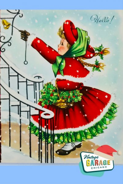 PIN- VINTAGE CHRISTMAS CARD little girls ringing the doorbell dressed in red, Hello! Holiday greeting card, 1960's.