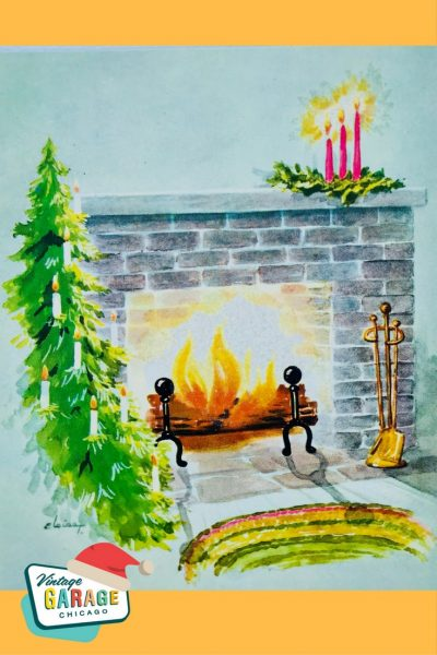 Vintage Christmas at Vintage Garage Chicago. Vintage Christmas card fireplace hearth 1950's with Christmas tree and candles.