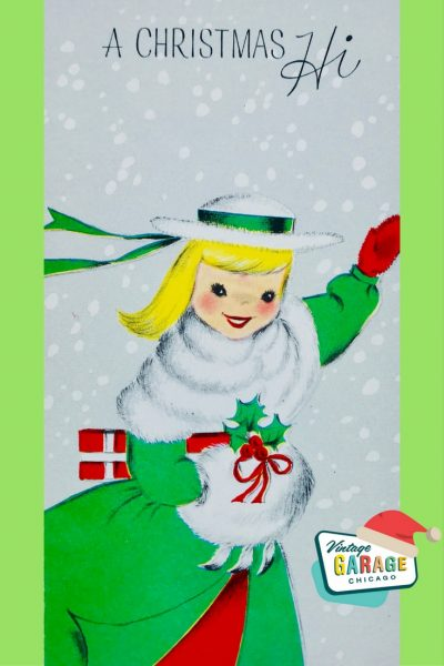 PIN-Vintage Christmas card vintage clothing coat with little GIRL with muff snow 1960S.