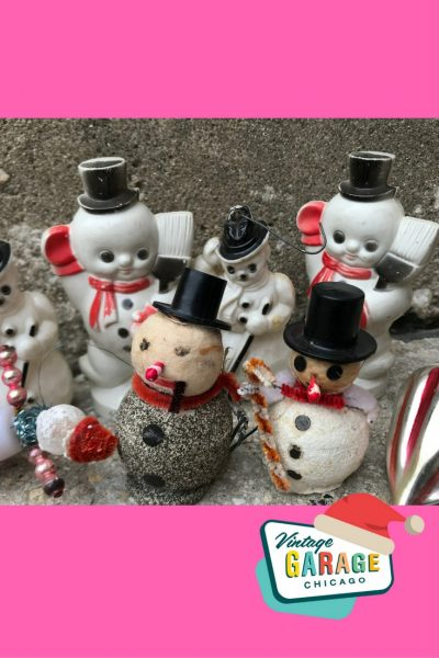 Vintage Kitschmas vintage snowman snowmen hard plastic ornaments, glitter spun cotton. Vintage Christmas at Vintage Garage Chicago.