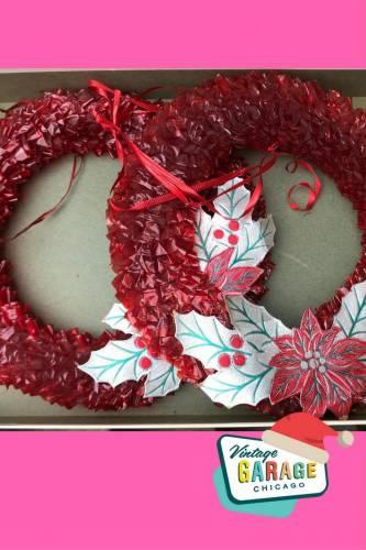 Vintage Kitschmas wreath paper holly and poinsettias original Christmas box