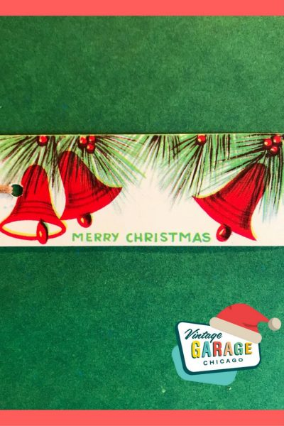 Vintage gift tag red bells Merry Christmas 1950s