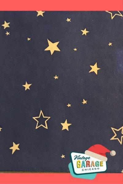 Vintage gift wrap, Navy blue stars 1950s