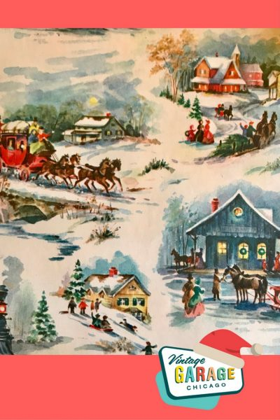 Vintage Christmas. Vintage gift wrap, home scene church and sleigh outside with trees 1960s