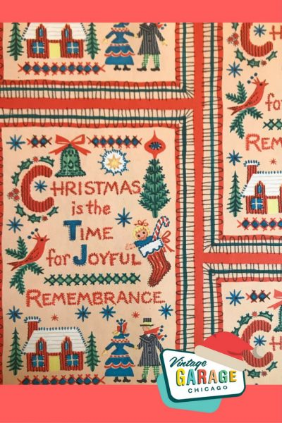 Vintage gift wrap, quilt pattern home scene church and sleigh outside with trees 1960s