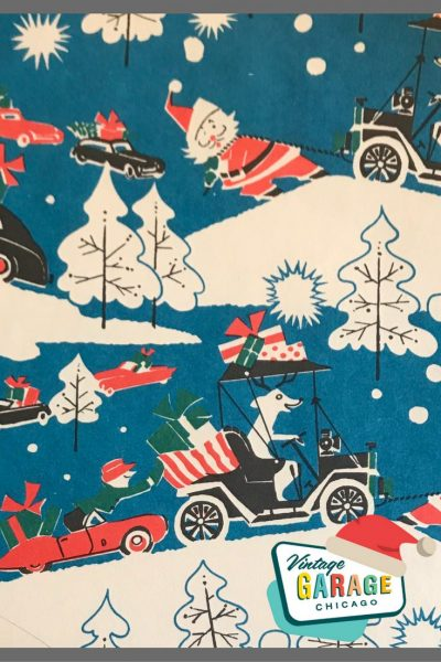 Vintage gift wrapping Santa with a dog driving a car with presents. Red convertible.