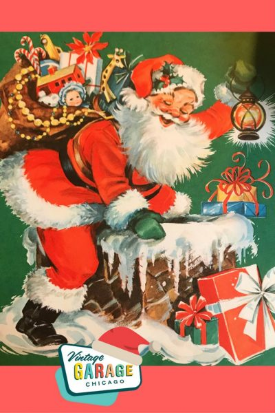 Vintage gift wrapping Santa with presents. 1960's vintage Christmas.