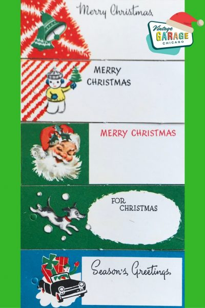 Vintage gift wrapping paper tags with Santa, dog, car with presents 1960s