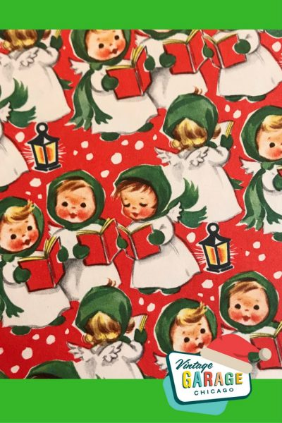 Vintage gift wrapping paper with singing angel little girls in the snow 1960s