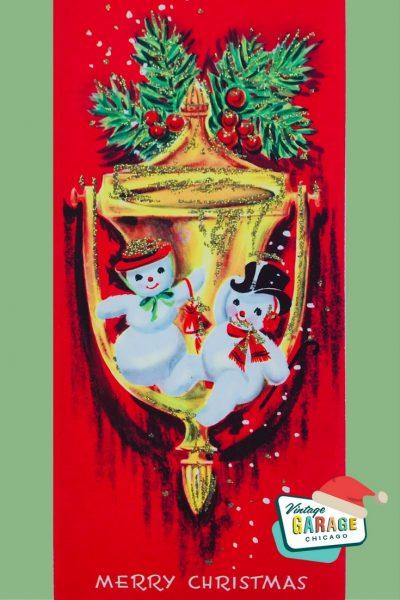 a merry Christmas card 2 snowmen on door doorknob, Vintage snowman Christmas card.