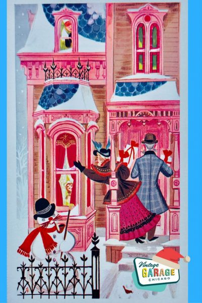 a merry Christmas card Pink house blue roof