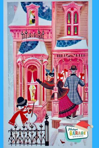 Vintage Christmas at Vintage Garage Chicago. a merry Christmas card Pink house blue roof