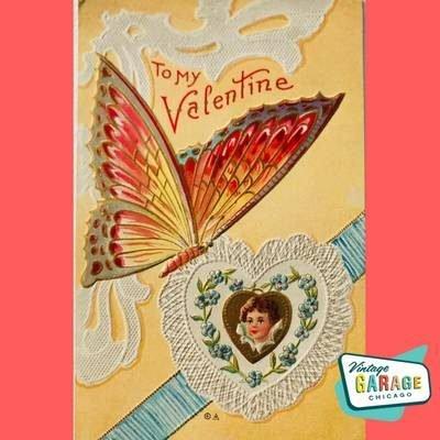 To my Valentine Butterfly on lace heart. Vintage valentine postcard. Vintage Garage Chicago.