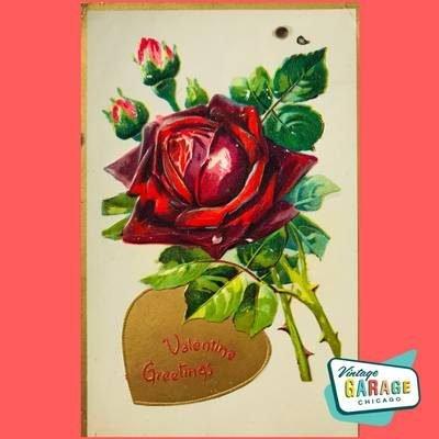 Red rose vintage Valentine postcard. To Valentine Greetings Garage Chicago.