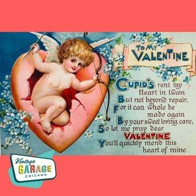 To My Valentine Cupid's Vintage Garage Chicago Vintage Valentine postcard.