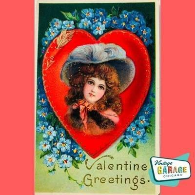 Vintage Valentine Greetings heart girl blue. Vintage Garage Chicago.