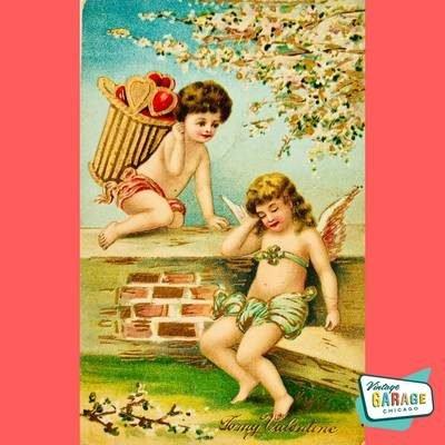 Vintage Valentine Postcard. Cherub angels. Vintage Valentine Greeting postcard To my Valentine. Vintage Garage Chicago.