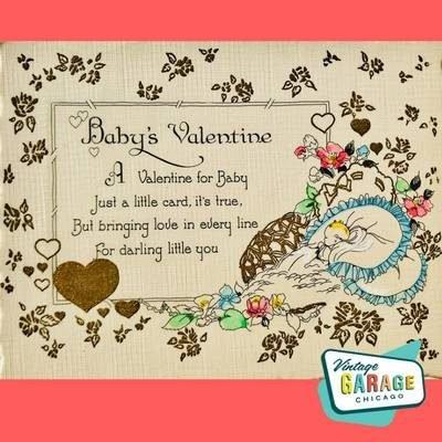 Baby's Valentine Postcard. Vintage Holiday Postcard. Vintage Garage Chicago.