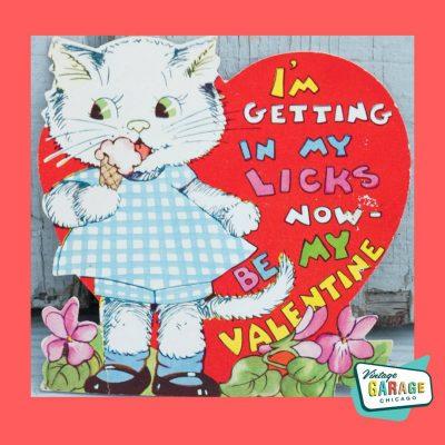 1950's Valentine Valentine card Licking my ice cream cone