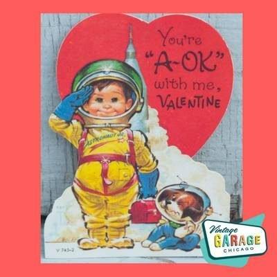 1960's vintage Valentine card astronaut card