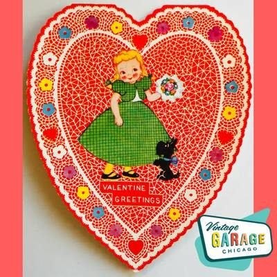 Art Deco Vintage Valentine Greeting card shaped like a heart. Adorable little girl with a scottie dog. Vintage Garage Chicago.