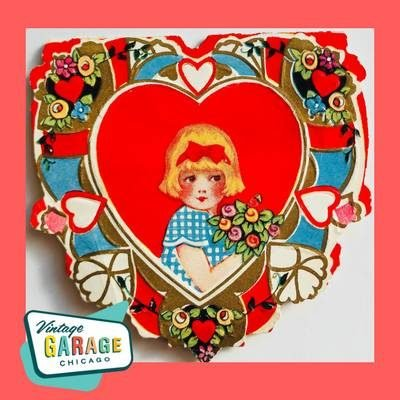 Art Deco Vintage Valentine Greeting card shaped like a heart. Little girl with flowers. Vintage Garage Chicago.