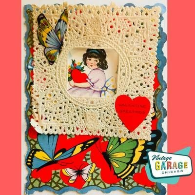 Art Deco Vintage Valentine Greeting card with lace overlay. Adorable little girl with gorgeous butterflies. Vintage Garage Chicago.