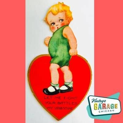 Art Deco Vintage Valentine Greeting card. Little girl Let me fight your battles my valentine. Vintage Garage Chicago.